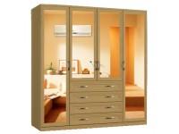 Шкаф распашной Классика 4.4.4з-ф (рамка рельеф, зеркала)