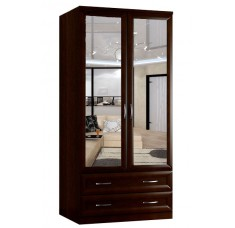 Шкаф распашной Классика 2.2б.2з-о (рамка волна, зеркала)